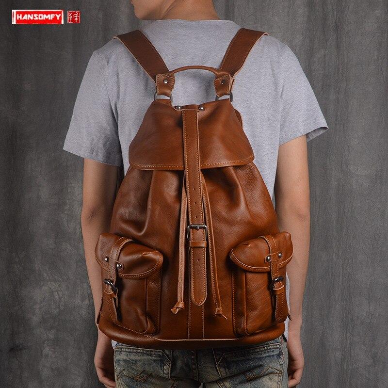 New Genuine Leather Men's Backpack suede leather casual male shoulder bag genuine leather fashion travel bag laptop backpacks