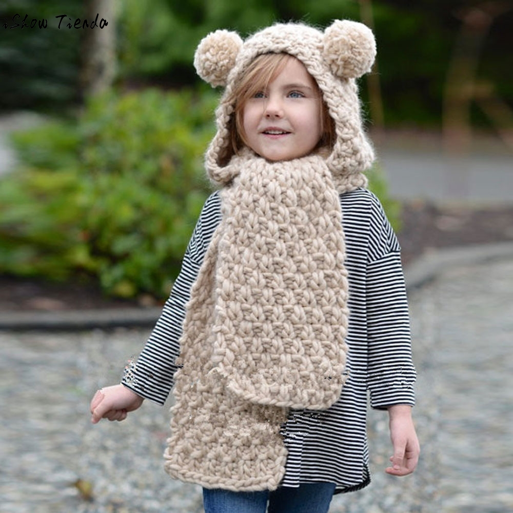 Winter Hats For Kids Princess Solid Winter Wool Knitted Double Ball Hats Baby Girls Shawls Hooded Beanie Gorro Infantil
