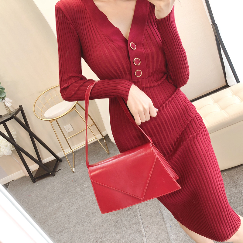 Warm V-neck Single Breasted Women Knitted Dress Full Sleeve Bodycon Mid-length Female Sweater Dress 2018 Casual Autumn Vestidos Dresses