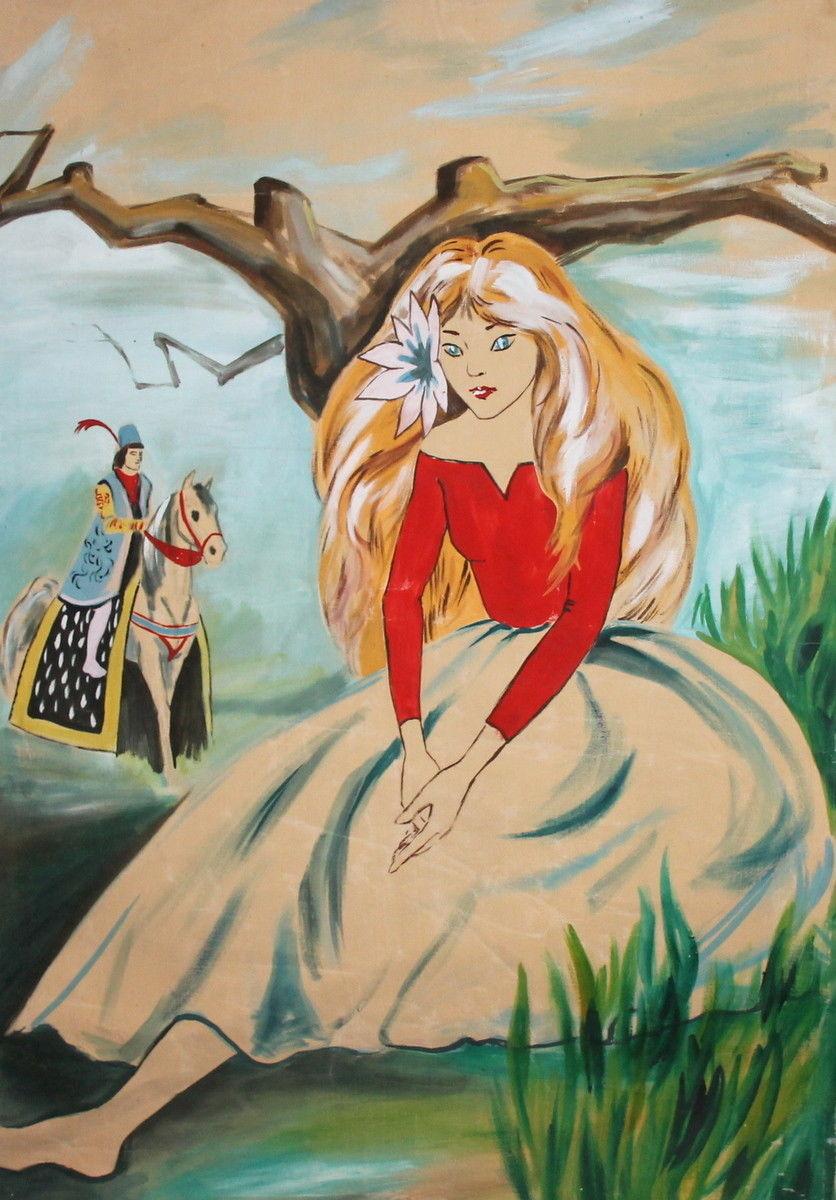 Vintage Portrait peinture à l'huile Art photo conte de fées fille peinture pour chambre décoration murale fait à la main pas encadré de haute qualité