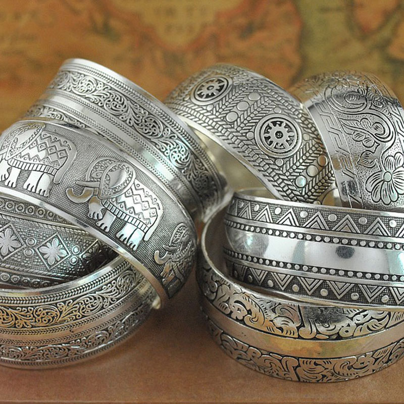 Gypsy Ethnic Square Flower Metal Carved Wide Bangles Tibetan Silver Vintage Retro Tribal Fashion Bracelet Bangle Cuff For Women