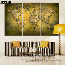 Large Map Wall Art Print Brass Color World Canvas Prints Vintage Plate Paintings Living Room Office Decor No Frame