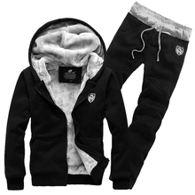 cotton Men's Sets men winter  2016 plus cashmere sweater mens suit  thickened Korean Hoodie suit  tide male cardigan Sets