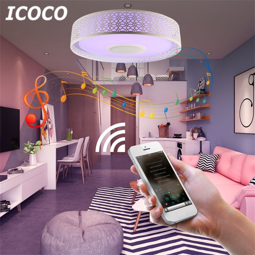 Smart Music LED Ceiling Light Bluetooth 4.0 Control Music & Color Changing Surface Mounted Lamp with Timer APP Control