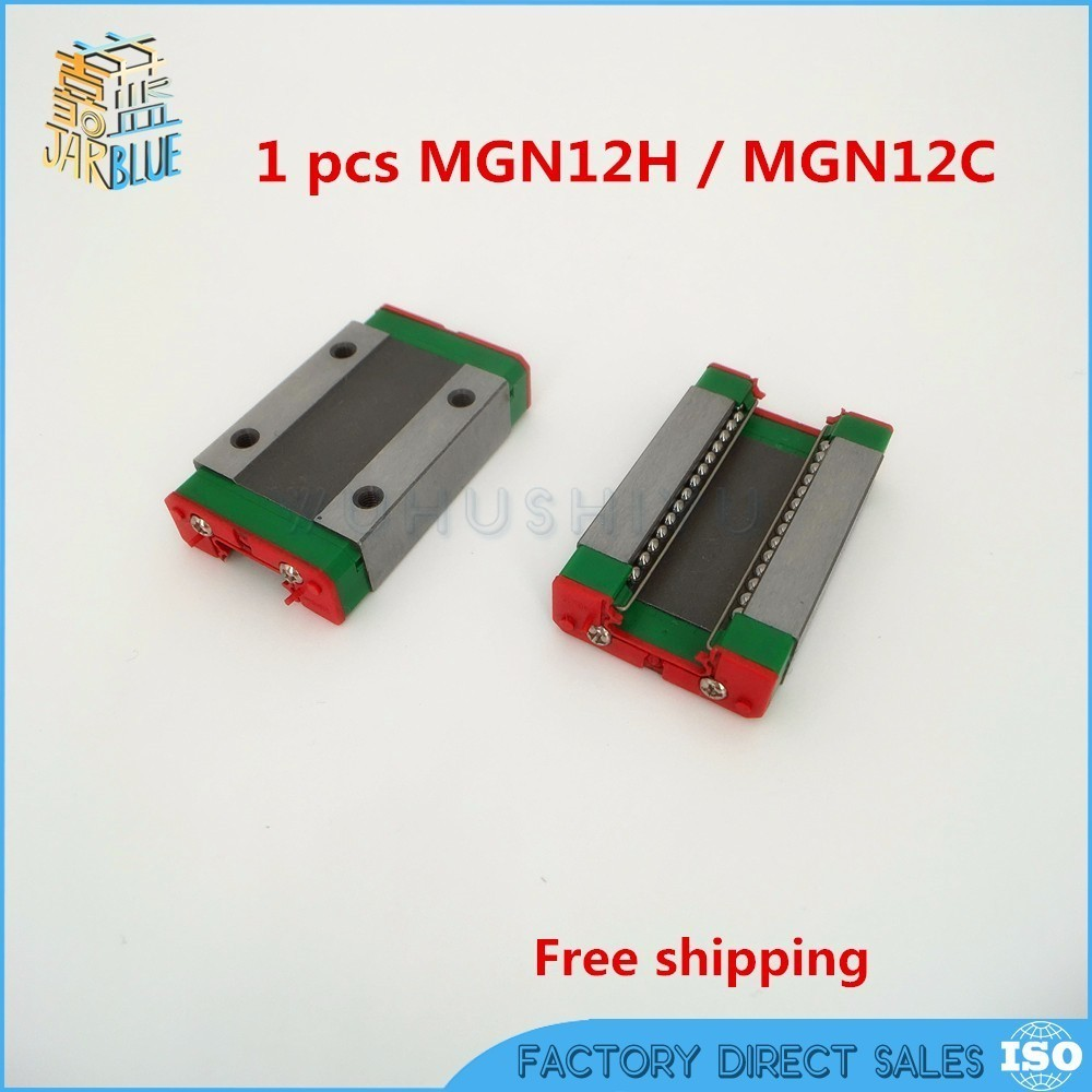 Free shipping MGN12H block for MGN12 12mm Linear Guide 12mm linear rail way Long linear carriage for CNC X Y Z Axis free shipping linear rail guide ball screw with motor driven y axis 300mm diy x y z axis router for cutting machine