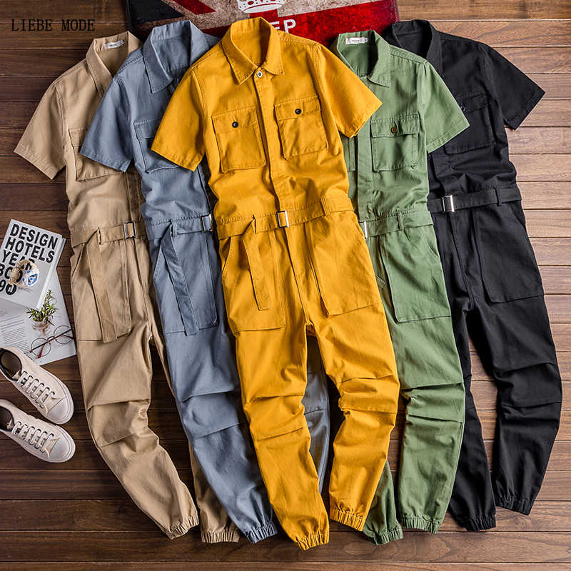 Japan Style Men Casual Short Sleeve Stylish Jumpsuits Pockets Long Trouser Cargo Pants Male Rompers Slim Shirts Overalls Belt