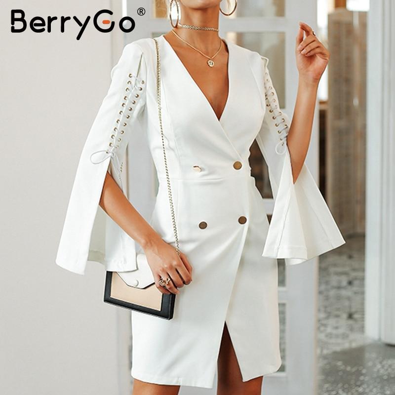 BerryGo Elegant Lace up blazer dress female 2018 Double breast work white short dress Women winter office ladies dresses autumn