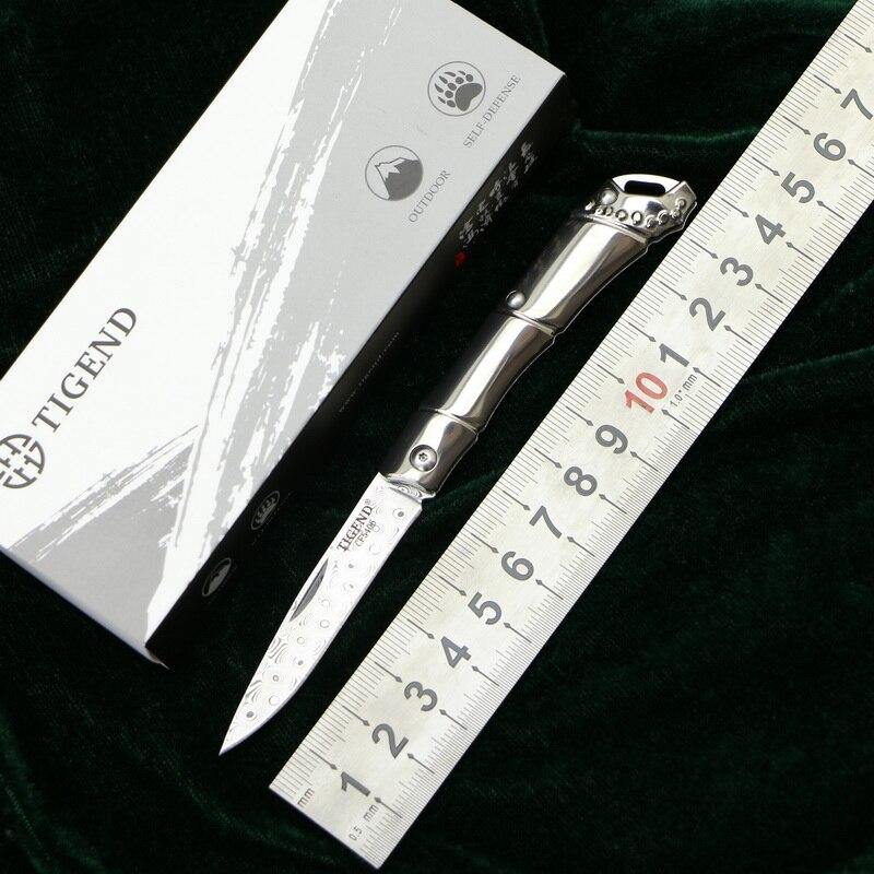 TIGEND CF5406T couteau pliant en acier damas poignée en titane chasse survie camping porte-clés couteaux de poche EDC outils pratiques