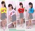 3-8ages 100-130 CM crianças Dos Desenhos Animados vestuário set 2 pcs cobre camisas da menina + vestido listrado ternos inteiros outfits 3 4 5 6 8 as idades