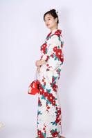 Japanese Classic Style Female Kimono Traditional Yukata Print Floral Robe Gown 10PCS Cosplay Costume Set Girls Evening Dress