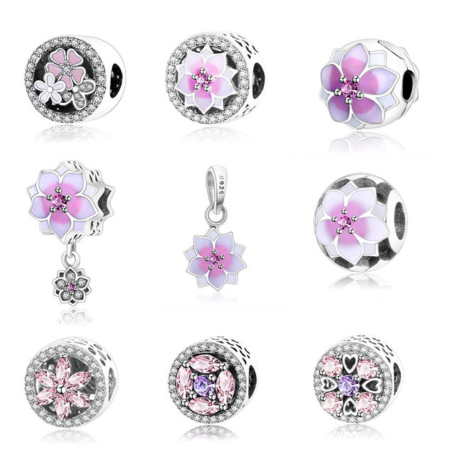 2017 spring flower collection charm beads 925 sterling silver
