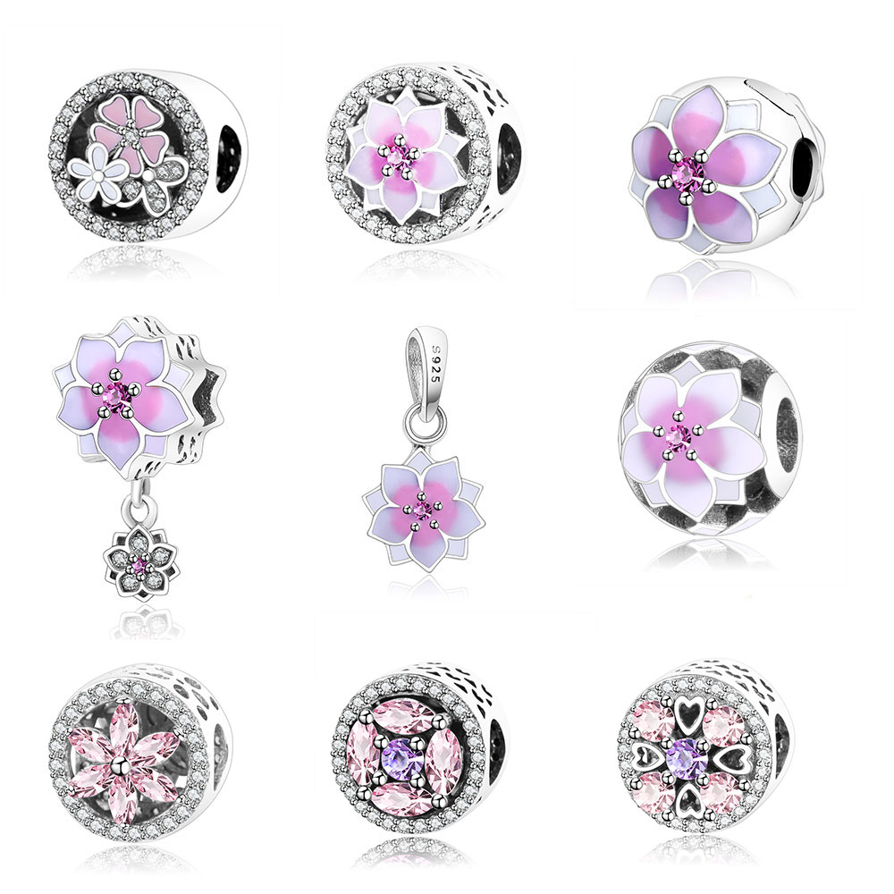 2017 Spring Flower Collection Charm Beads 925 Sterling Silver Jewelry Fits Original Pandora Charms Bracelet Authentic Berloque