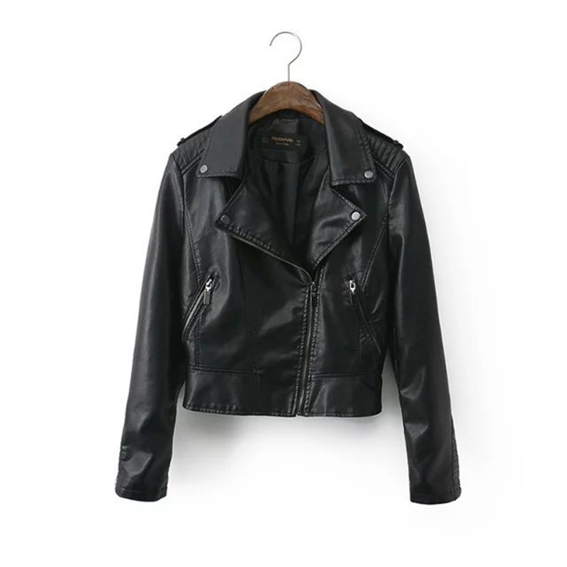 Black Motorcycle PU   Leather   Jacket New 2019 Coat HOT Women Winter Autumn Vintage Coat Zipper Outerwear Jacket