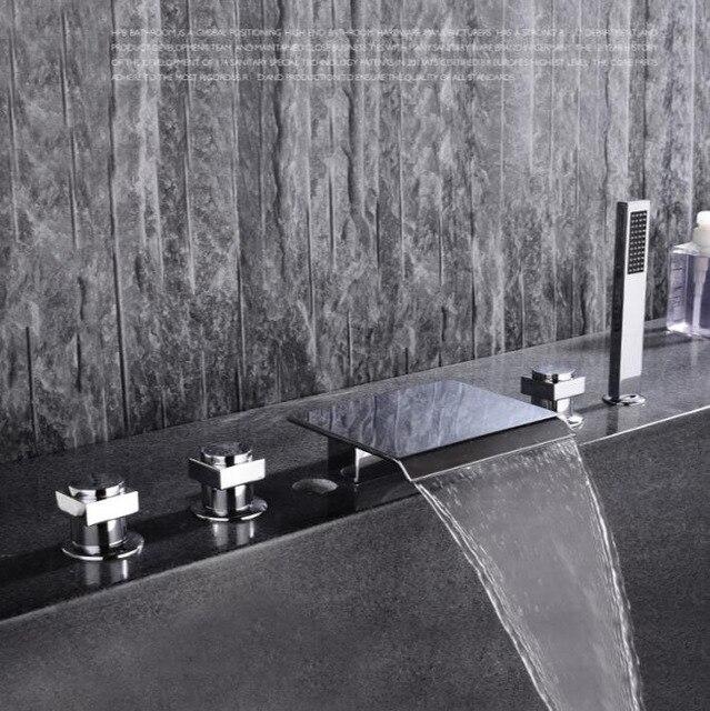 luxury brass material chrome plating widespread bathroom waterfall