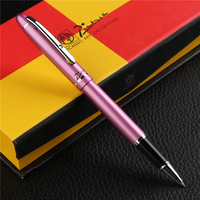 1PC Luxury Silver Clip Rollerball Pen High end Gift Writing Stationery Pimio 608 Metal 0.5mm Black Ink Sign Pens with a Gift Box