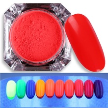 1 Box Neon Phosphor Nail Pigment Powder 2g Glitter Dust Powder 10 Colors Manicure Nail Art Decorations Accessories