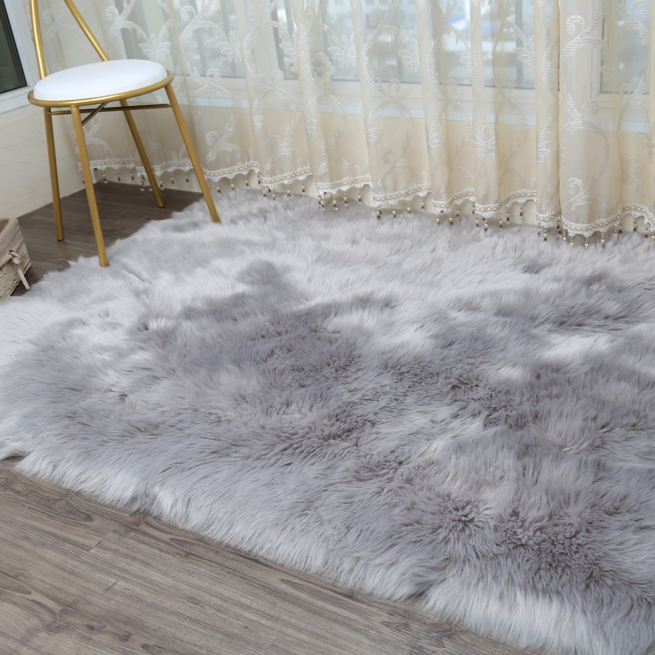 LIU Thick plush Artificial wool carpet bed bedroom living room windows fur rug pad moder ...