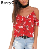 BerryGo Straps Floral Print Camisole Tank Top Sexy V Neck Ruffles Backless Cold Shoulder Tops Summer