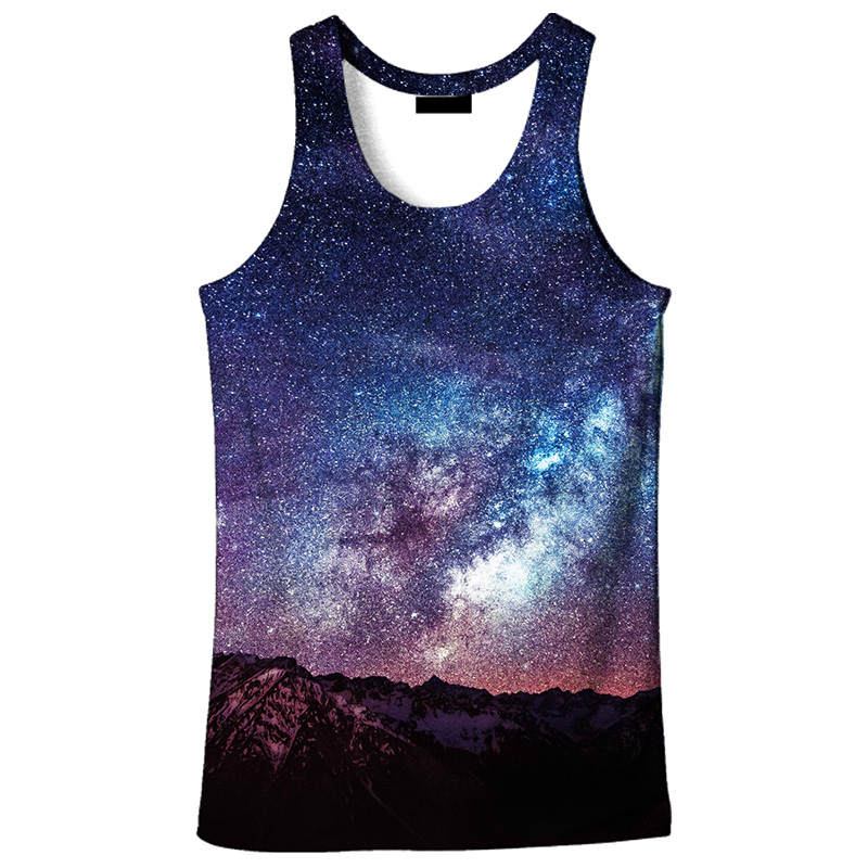 Cloudstyle Casual Harajuku Mens 3D   Tank     Tops   Summer Billion Stars Space 3D Print Vest Slim Vacation Cool Singlet Plus Size 5XL