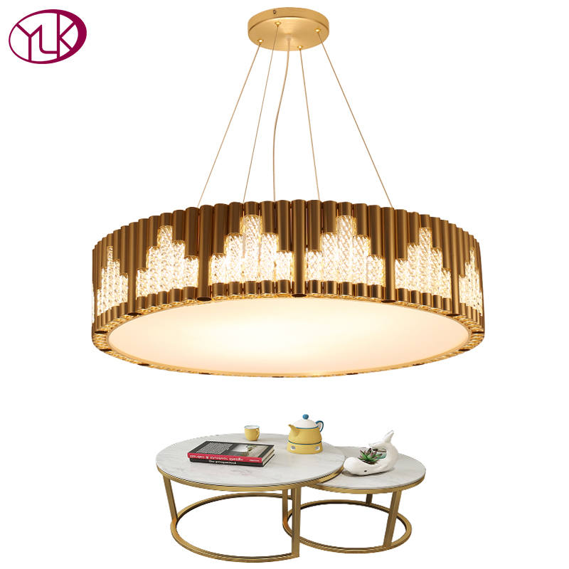 Youlaike Round Modern Crystal Chandelier Gold AC110-240V Light Fixture Luxury Living Dining Room Cristal Lustre modern crystal led chandelier gold luxury lustre e14 8 bulbs included crystal ball fixture for restaurant living room lamp