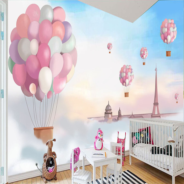Cartoon Hand Painted Mural Sky White Clouds Balloon Childrens Room Bedside Background Wall
