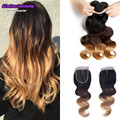 Brazilian virgin hair bundles with closure 1b/4/27 ombre hair 3tone blonde 3bundles with lace tissage bresilienne avec closure