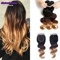Feixes de cabelo brasileiro virgem com fechamento 1b/4/27 cabelo ombre 3 tom loiro 3 pacotes com rendas tissage bresilienne fechamento avec
