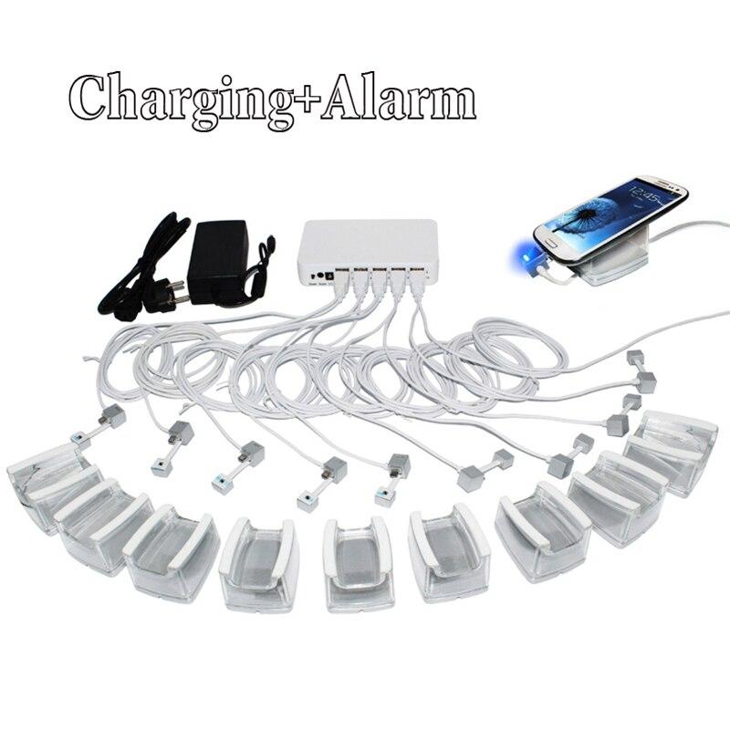 10 в 1 зарядки мобильный телефон охранной сигнализации дисплей планшета держатель с Andriod Apple кабели и акриловая подставка