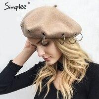 Simplee Fashion Warm Beret Hat Female 2017