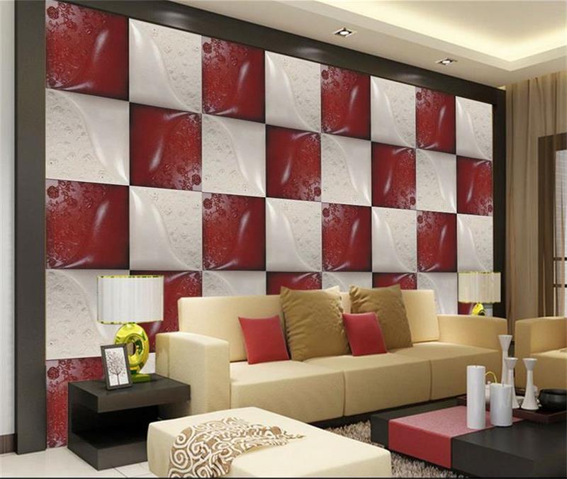 Custom 3d mural wallpaper Non Woven wallpaper red white ...