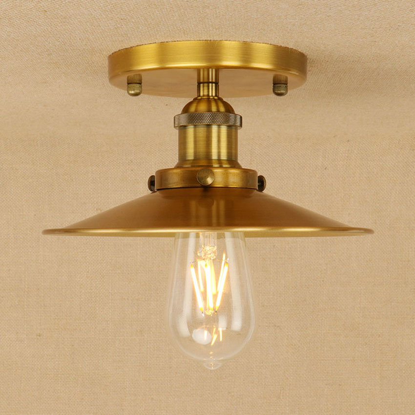 Vintage Industrial Loft Style Ceiling Fixtures Retro Lamp: Retro Creative Industrial Style Ceiling Lamp,gold/rusty