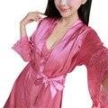 Mujeres Sexy HomeWear 2 Unids Set Ladies Soft Transpirable de Encaje Floral Vestido de La Correa + de Manga Larga Traje Pijama Ropa de Dormir