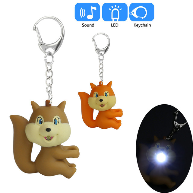 Novo mini lanterna brinquedo keychain do DIODO EMISSOR de luz portátil lâmpada som lanterna chaveiro presente bonito do esquilo _ Z218