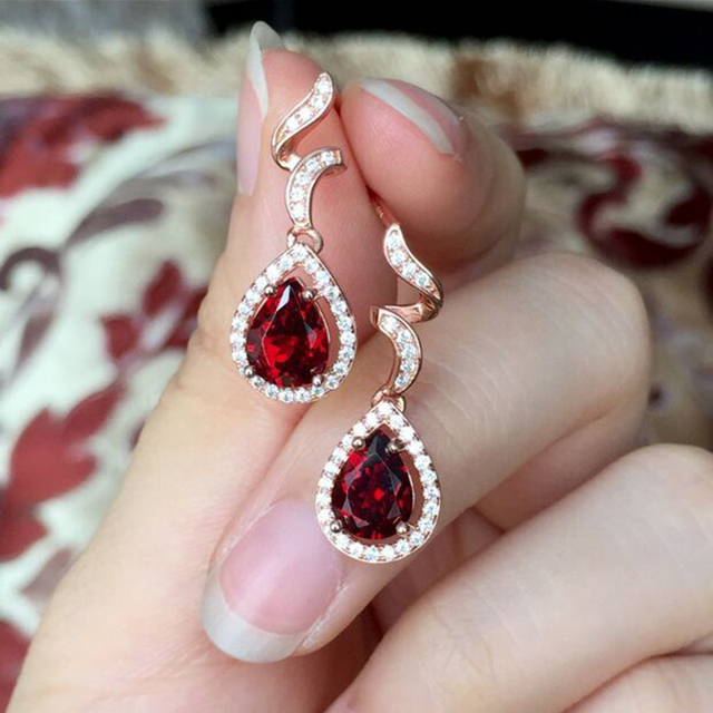Luxury design crystal drop earrings for women real 925 Solid Sterling Silver natural garnet gemestone earring Wedding earrings