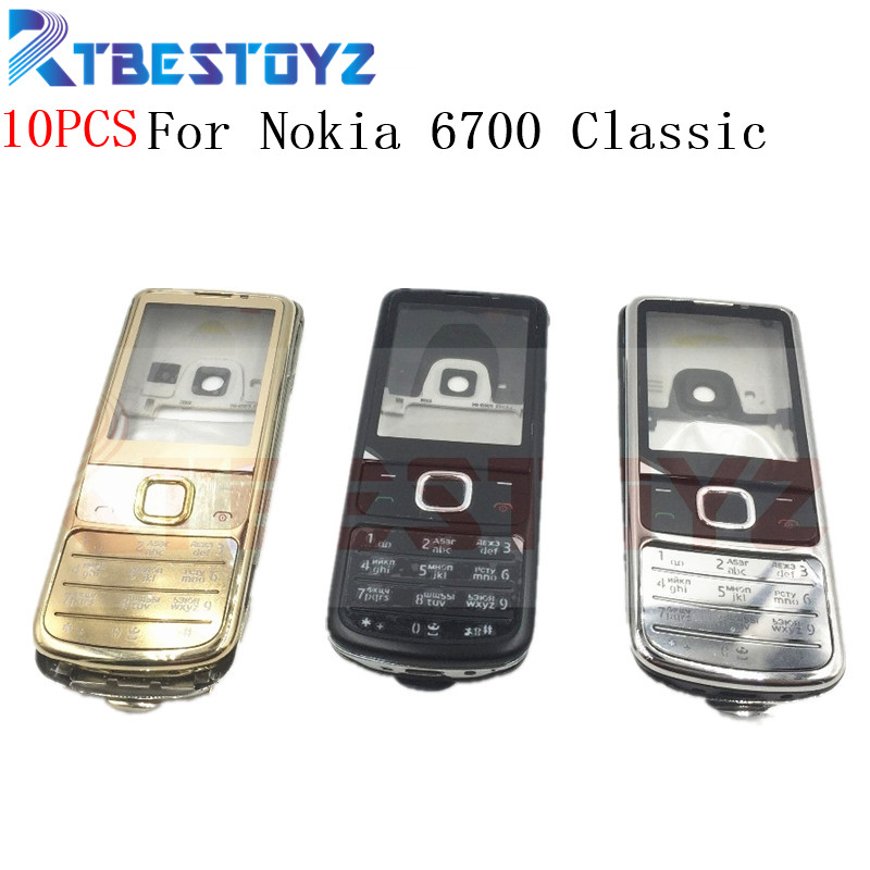 RTBESTOYZ 10PCS/Lot New Full <font><b>Housing</b></font> Cover Case Russian English Keyboard Black Silver Golden For <font><b>Nokia</b></font> <font><b>6700</b></font> Classic 6700C image