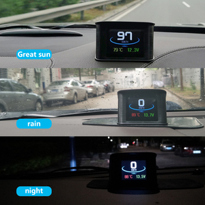 Image 4 - WiiYii OBD2 HUD P10รถHead Up Display OBD Digitalอุณหภูมิวัดความเร็วเมตรเครื่องยนต์Coolantอุณหภูมินาฬิกาปลุก