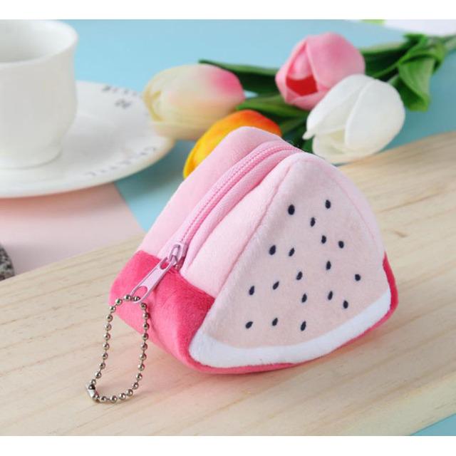 3PCS Girls Kids Coin Purse Children's Holiday Gifts Creativity Plush Triangles Fruit Purses Coins Mini bag Key Bag  Cute Wallet
