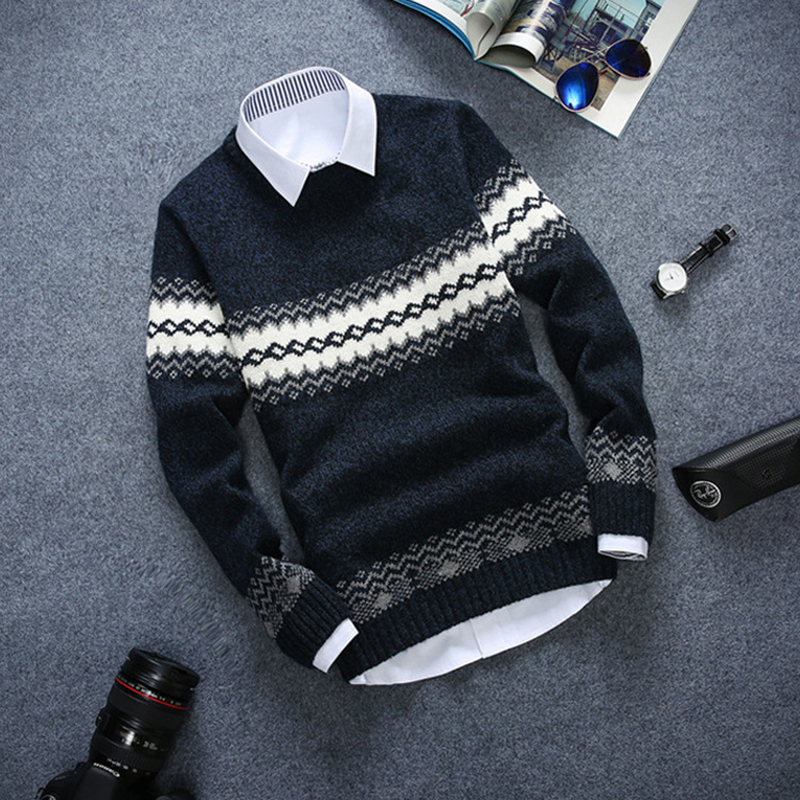 New Kind Of Thickened Men's Little Diamond Sweater, Shaping Style, Fashion, Youth Pullovers, Long Sleeve Mens Swaters 2019