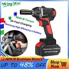 цена на N 480NM Brushless Long Duration Cordless 1/2 Hilti Electric Kress Bort Power Tools Samsung Battery Electric Impact Drill Wrench
