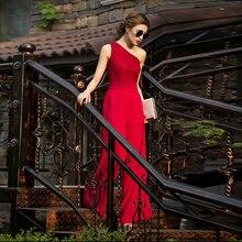 Женский кружевной красный комбинезон вечерние летние шифоновые Формальные Элегантные с открытыми плечами комбинезоны в полную длину размера плюс 3XL 4XL