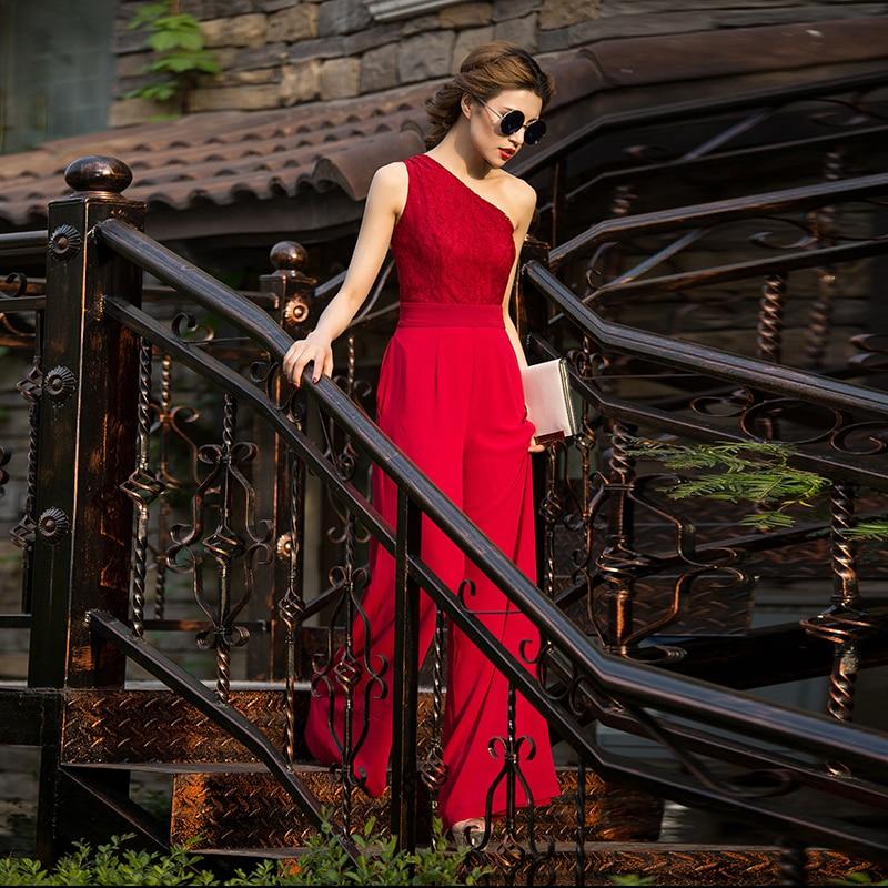 Women Jumpsuit Elegance 2020 Party Summer Chiffon Formal off Shoulder Full Length Rompers Plus Size 3XL 4XL Lace Jumpsuits