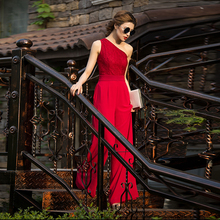 Women Jumpsuit Elegance 2020 Party Summer Chiffon Formal off Shoulder Full Lengt
