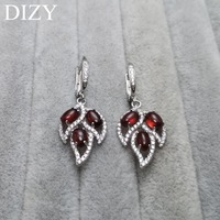 DIZY Natural RED Garnet Leaf Drop Clasp 925 Sterling Silver Gemstone Clip Earring for Women Gift Wedding Engagement Jewelry