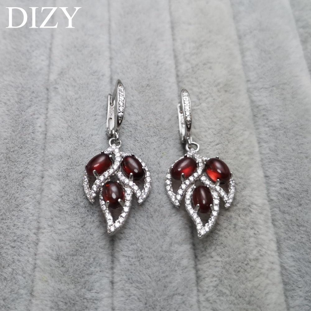 DIZY véritable 925 en argent Sterling boucles d'oreilles pour femmes naturel rouge grenat pierres précieuses boucles d'oreilles mariage fiançailles bijoux