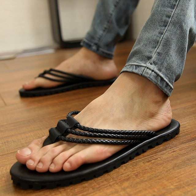 Summer male sandals casual leather sandals rivet flip-flop sandals fashion sandals