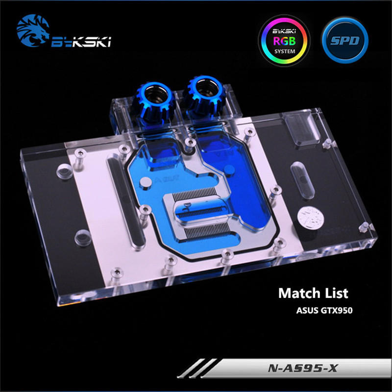 Bykski Full Coverage GPU Water Block For ASUS GTX950 Black Wolf Evolution Graphics Card N-AS95-X computador cooling fan replacement for msi twin frozr ii r7770 hd 7770 n460 n560 gtx graphics video card fans pld08010s12hh