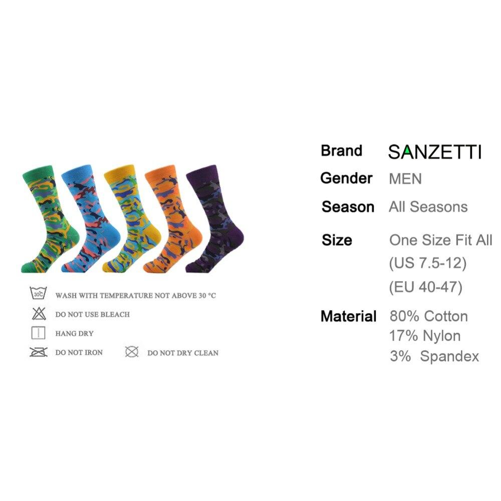 SANZETTI 5 paare/los Neuheit männer Gekämmte Baumwolle Socken Bunte Camouflage Muster Lustige Casual Kleid Crew Socken UNS 7,5- 12