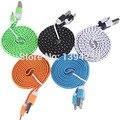 1 m três pés de alta qualidade 10 cores plano trançado fabic woven 8pin usb fio cabo de cabo do carregador de sincronização de dados para iphone 5 6 6 plus 7 7 mais