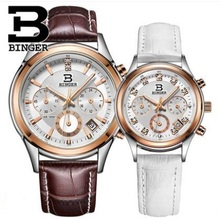 2017 Binger Brand Quartz Watch lovers Watches Women Men Dress Watches Leather Dress Wristwatches Fashion Casual Watches gold