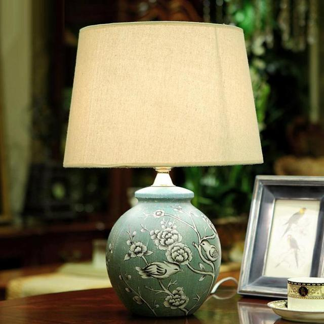 Chinese Hand Painted Ceramic Table Lamp For bed room Living room Old-making Pattern Led E27 Deco Lamp For Wedding 1118